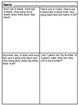 Free 1st Grade Word Problems