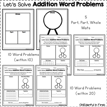 Addition Word Problems (within 10 and within 20)