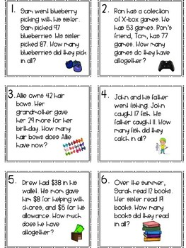Addition Word Problem Task Cards
