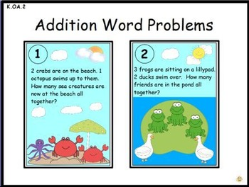 Addition Word Problems: Activeboard Center (K.OA.2)