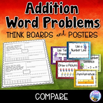 Addition Word Problems - Compare - Think Boards - Sums to 20