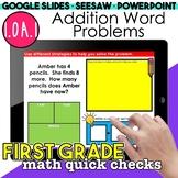 Addition Word Problems Digital Activities | First Grade Math Quick Checks