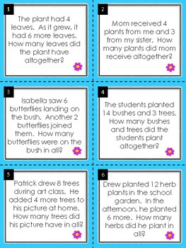 Addition Word Problems:  Earth Day Math Task Cards