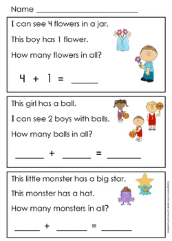Addition Word Problems Within Five {Kindergarten Reading Comprehension & Math!}