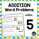 Addition Word Problems to Five: Kindergarten Reading Comprehension & Math {ESL}