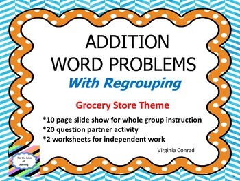 Addition Word Problems--Grocery Store Theme