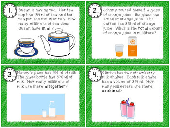 Addition Word Problems Involving Measurement With Liters & Milliliters