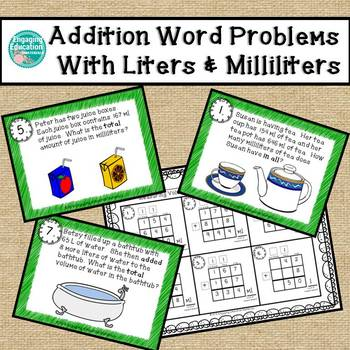 Addition Word Problems Involving Measurement With Liters &