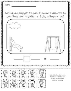 Addition Word Problems (Kindergarten Common Core Aligned)