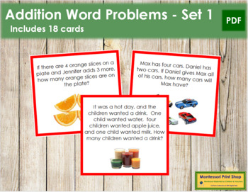 Addition Word Problems - Level 1 (color-coded)