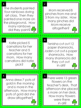 Addition Word Problems:  St. Patrick's Day Math Task Cards