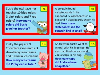 Addition Word Problems TO 20 TASK CARDS