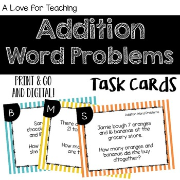 Addition Word Problems {Task Cards}