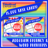 Addition Task Cards ENDLESS Bundle: Fluency and Word Problems Addition Practice