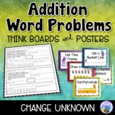 Addition Word Problems - Change Unknown - Think Boards - Sums to 20