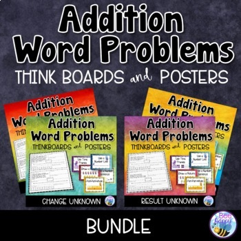 Addition Word Problems - Think Boards - Sums within 20 - Bundle