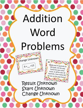 Addition Word Problems Using Unknowns