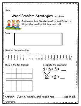 Addition Word Problems Using Multiple Strategies