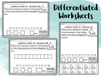Addition to 10 Word Problems Worksheets - | EDITABLE |