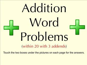 Addition Word Problems Within 20 With 3 Addends - Smartboard