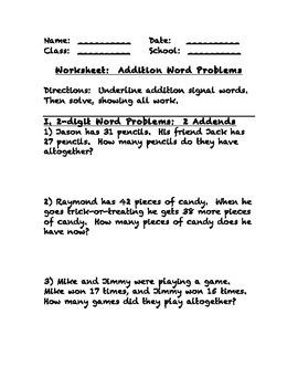 Addition Word Problems Worksheet