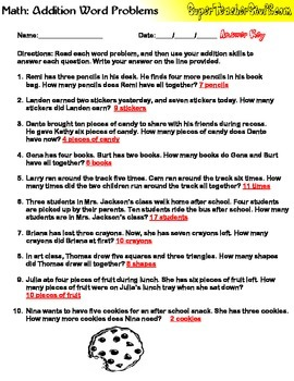 Addition Word Problems Worksheet with Answer Key