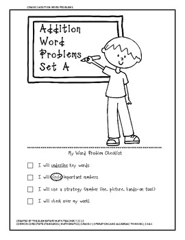 {FREEBIE} Addition Word Problems Worksheets - Set A