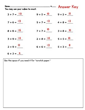 Addition Word Problems and Facts