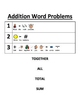Addition Word Problems and Frame Worksheet
