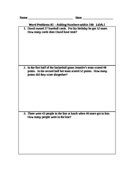 Addition Word Problems for 2nd Grade