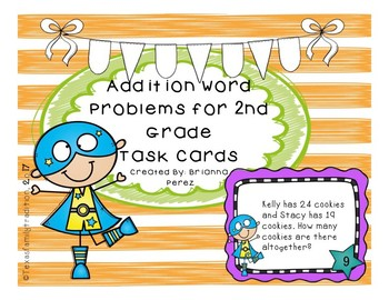 Addition Word Problems for 2nd Grade Task Cards