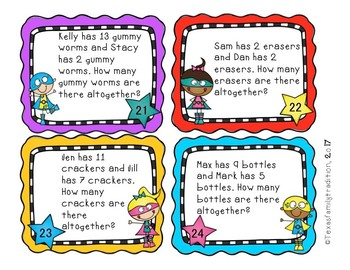 Addition Word Problems for First Grade Task Cards
