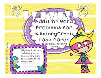 Addition Word Problems for Kinder Task Cards