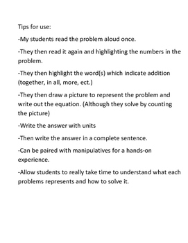 Addition Word Problems for beginners: Zero Pack