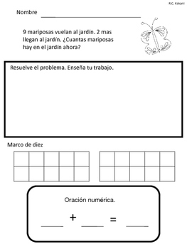Addition Word Problems in Spanish up to 11-20