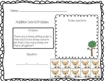 Addition Word Problem Solving Boards - Farm Theme