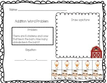 Addition Word Problem Solving Boards - Farm Theme
