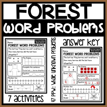 Addition Word Problems to 10 WHOLE UNKNOWN