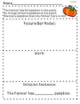 Addition Word Problems with Bar Model Printables