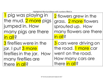 Addition Word Problem Work Task for Autism and Special Education