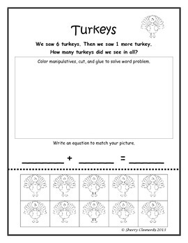 November Addition Word Problems with Manipulatives