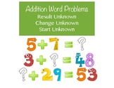 Addition Word Problems with Unknowns in all Positions - K,