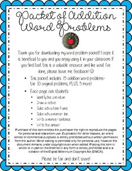 Addition Word Problems within 10 (15 problems)- Multiple Strategies