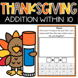 Addition Word problems to 10 Thanksgiving Math Worksheets