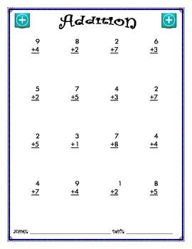 Addition Worksheet - 1 + 1