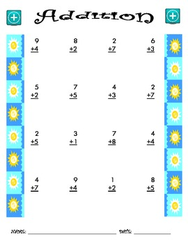 Addition Worksheet - 1 + 1 SUMMER THEME