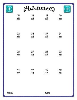 Addition Worksheet - 2 + 1