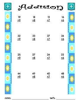 Addition Worksheet - 2 + 1 SUMMER THEME