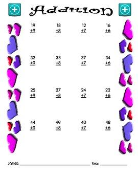 Addition Worksheet - 2 + 1 VALENTINE THEME