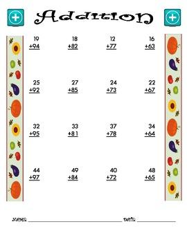 Addition Worksheet - 2 + 2 FALL THEME